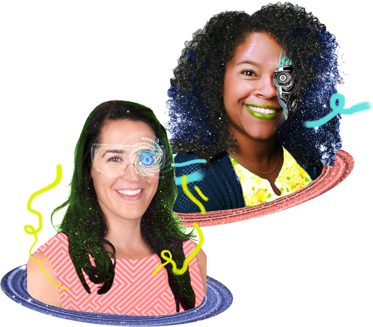 Headshots of Founders Rada and Chanté with futuristic illustrations augmenting their faces