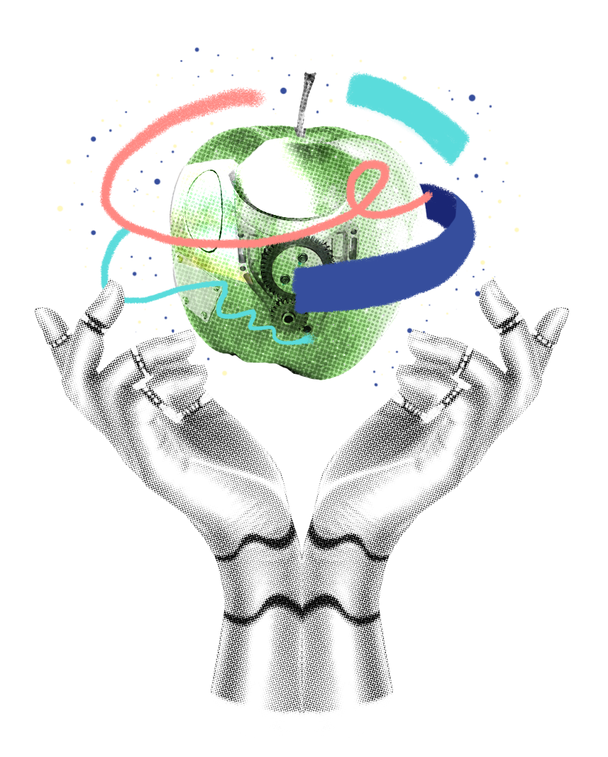 Mixed-media illustration of two robotic hands holding a green apple